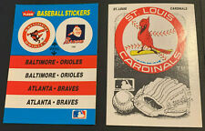 1989 Fleer Baseball Sticker Orioles Atlanta Braves Chief Noc-A-Homa Cardiinals