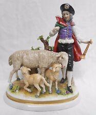 Rudolstatd Volkstedt figura Niño Porcelana continental alemán ovejas altura 19cm