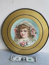 """Large 12"""" vintage Flue Cover flowered Victorian girl lady antique wall hanging"""