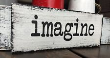 """farmhouse wood sign IMAGINE rustic wooden inspirational home wood sign small 9"""""""