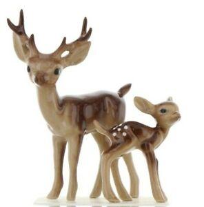 Hagen-Renaker Miniature Ceramic Deer Figurine Papa Stag & Baby Fawn Standing Set