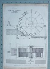 1847 ENGINEERING PRINT PONCELET'S UNDER SHOT WATER WHEEL GUERIGNY FRANCE