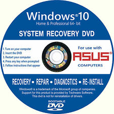 Asus Windows 10 Home/Pro 64 Bit Ordinateur de bureau récupération réparation installer DVD