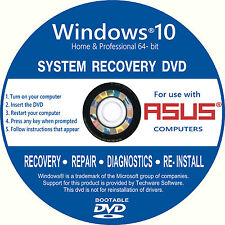 ASUS Windows 10 Laptop Desktop PC Recovery Repair Restore install DVD Software