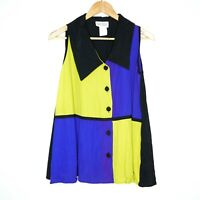 Vintage Expose Womens Multicoloured Colour Block Sleeveless Blouse Size Large