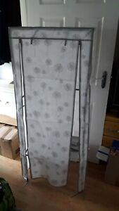 Plastic Single Canvas Wardrobe Clothes Cupboard Hanging Rail