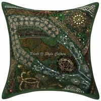 Indian Cotton Elephant 40x40 cm Silver Thread Embroidered Throw Pillow Cover