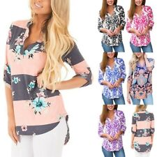 Women Three Quarter Sleeve Loose Shirt Floral Pattern Stand Collar Blouse Tops