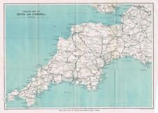 DEVON & CORNWALL Touring Map - Vintage Folding Map 1933