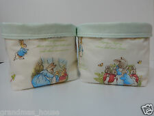 Fabric Baskets - 2 Beatrix Potter - Peter Rabbit Nursery Nappy Holders Gorgeous!