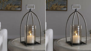 """TWO RIAD FARMHOUSE INSPIRED XL 16"""" AGED METAL TEXTURED GLASS CANDLE HOLDERS"""
