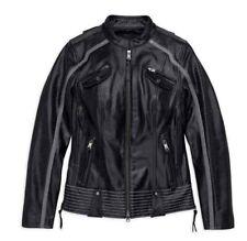 Harley-Davidson Womens Willie G Hairpin Leather Motorcycle Jacket (Sz XL XLarge)