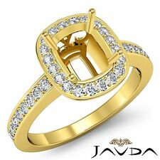 14k Yellow Gold Cushion Cut Semi Mount 0.36Ct Diamond Engagement Halo Pave Ring