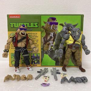 """2/Pcs NECA TMNT Teenage Mutant Ninja Turtles Bebop Rocksteady 7"""" Action Figures"""