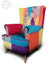 Poltrona patchwork design vintage stile retrò stoffa multicolore