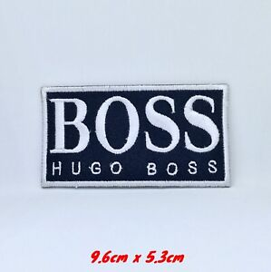 Hugo Boss Brand Badge black Embroidered Iron Sew on Patch