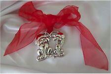 Brighton NWT Pet Love Charms Ornament Cat & Dog in Santa Hats n Heart Adorable!