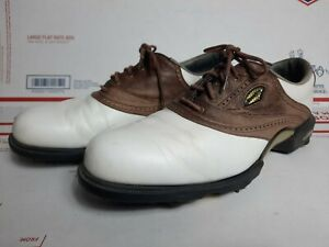 FOOTJOY  DRYJOYS  GOLF SHOES WHITE BROWN Leather Mens Size 13M   53410