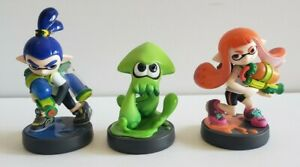 Splatoon Three Pack Amiibo Figures Nintendo (Inkling Boy And Girl, Green Squid)