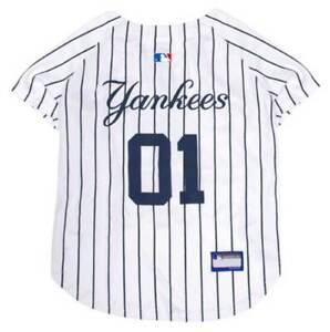 Pets First MLB New York Yankees Screen Printed Baseball Dog Jersey - White/Blue