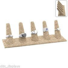 MODERN BURLAP 5 FINGER RING DISPLAY STAND SHOWCASE DISPLAY COUNTERTOP STAND