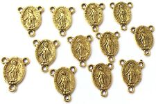 12 Antique Gold Rosary Mary connector centerpieces- Rosary Findings