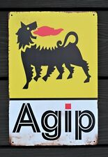 AGIP Motorcycle Metal Garage Sign Wall Plaque Vintage mancave 12 x 8 Inches