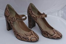 M&S Autograph Insolia Brown Snake Print Leather Mary Janes Size 5.5