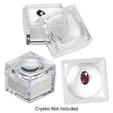 6 White foam Gem Jars- 1x1x7/8-inch Magnifying 2x gem/bug box
