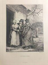 GRAVURE EAU FORTE LES DEUX COCHERS 1875 GEORGE MORLAND CHARLES WALTNER