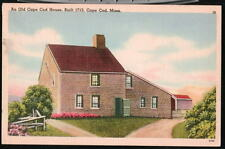 DENNIS MA Old Cape Cod House Vtg 1952 Linen Postcard
