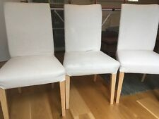 3x Stuhl Weiß / Beige mit Holzbeinen (IKEA HENRIKSDAL), gebraucht