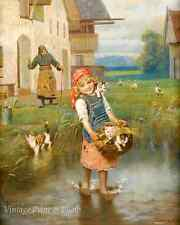 Girl and Rooster by A Gallen-Kallela 8x10 Print 361 Child Farm Country Art