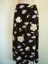 Limited womens XS S 2 brown purple yellow floral career long modest A-Line skirt