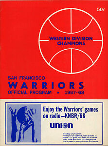 1967-68 NBA NEW YORK KNICKS vs. SAN FRANCISCO WARRIORS GAME PROGRAM NM/MT