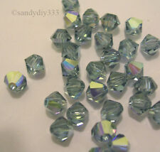 144x SWAROVSKI 5301 INDIAN SAPPHIRE AB 4mm BICONE CRYSTAL BEAD