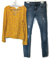 Girls Outfit Mustard Floral Strappy Front Top Adjustable Distressed Jeans 10 Lot