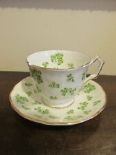 Aynsley England Demitasse Cup And Saucer Clover Green Chip
