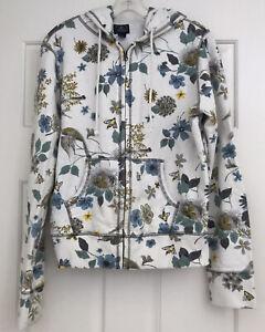 Lucky Brand Sweatshirt Hoodie Floral Bees🐝  Bird Nests Full zip XL Extra Large