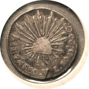elf Mexico 1/2 Real 1860 60/50 Overdate ZsVL Inverted A for V  Cap and Rays