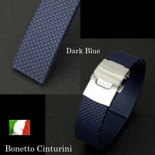 22mm Bonetto Cinturini 300D Dark Blue, Rubber strap made in Italy