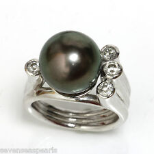 Tahitian Pearl Diamond  Ring 12 MM  AAA Flawless 14kt