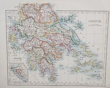 Map of Greece. 1892. W&AK Johnston. Original.EUROPE