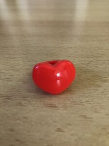 Red Heart Shape Chunky Wide Plastic Ring - NEW!! Retro 80's