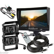 "7"" Monitor Rear View Kit +RV Bus Truck Trailer Car IR Reversing Backup 2 Camera"