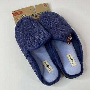 Dearfoams Womens Blue Memory Foam Round Toe Comfort Slip On Clog Slippers