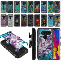 "For LG V40 ThinQ 6.4"" Hybrid Heavy-Duty Kickstand Holster Case Cover"