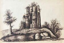Château fort ruine Moyen âge fortification médiévale lavis d'encre  vers 1855