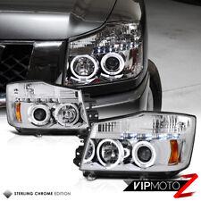 L+R Chrome Angel Eye Halo Projector Headlight For 04-14 Titan PRO4X TA60 2WD/4WD