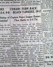 Rare NEGRO LEAGUE BASEBALL Black Yankees 1943 WWII New York Times Old Newspaper